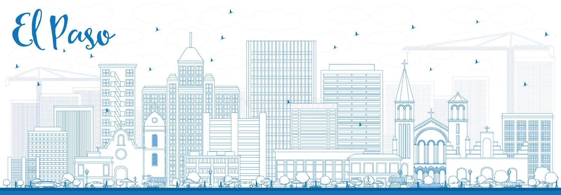 概述与蓝色大厦的埃尔帕索地平线 向量例证