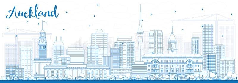 概述与蓝色大厦的奥克兰地平线 库存例证