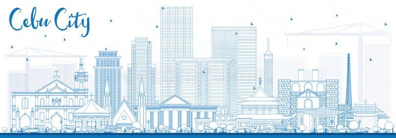 概述与蓝色大厦的宿雾菲律宾地平线 皇族释放例证
