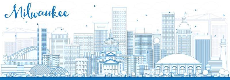 概述与蓝色大厦的密尔沃基地平线 库存例证