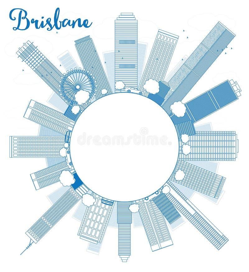 概述与蓝色大厦的布里斯班地平线并且复制空间 库存例证