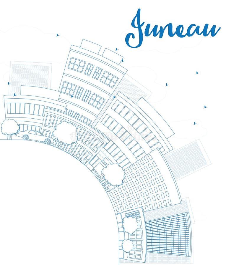 概述与蓝色大厦的朱诺(阿拉斯加)地平线并且复制spac 库存例证