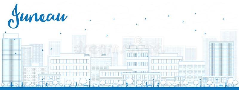 概述与蓝色大厦的朱诺(阿拉斯加)地平线 皇族释放例证