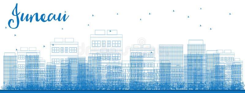 概述与蓝色大厦的朱诺(阿拉斯加)地平线 向量例证