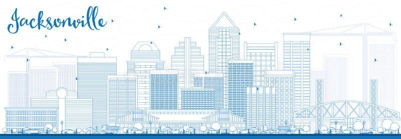 概述与蓝色大厦的杰克逊维尔地平线 库存例证