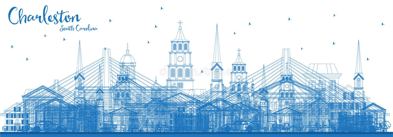 概述与蓝色大厦的查尔斯顿南卡罗来纳地平线 库存例证