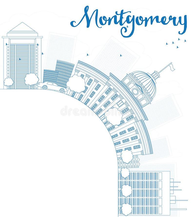 概述与蓝色大厦的蒙加马利地平线并且复制空间 向量例证