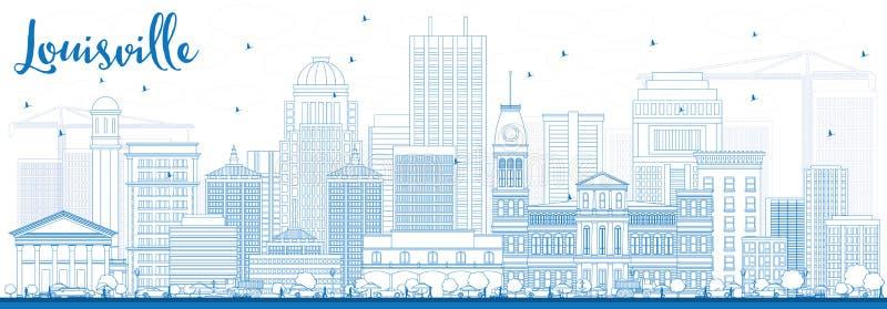 概述与蓝色大厦的路易斯维尔地平线 皇族释放例证