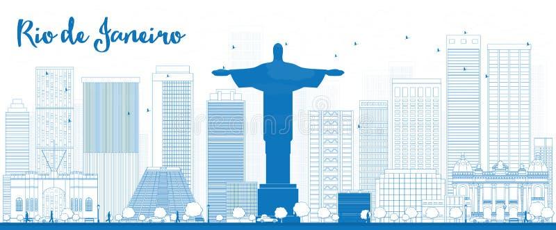概述与蓝色大厦的里约热内卢地平线 库存例证