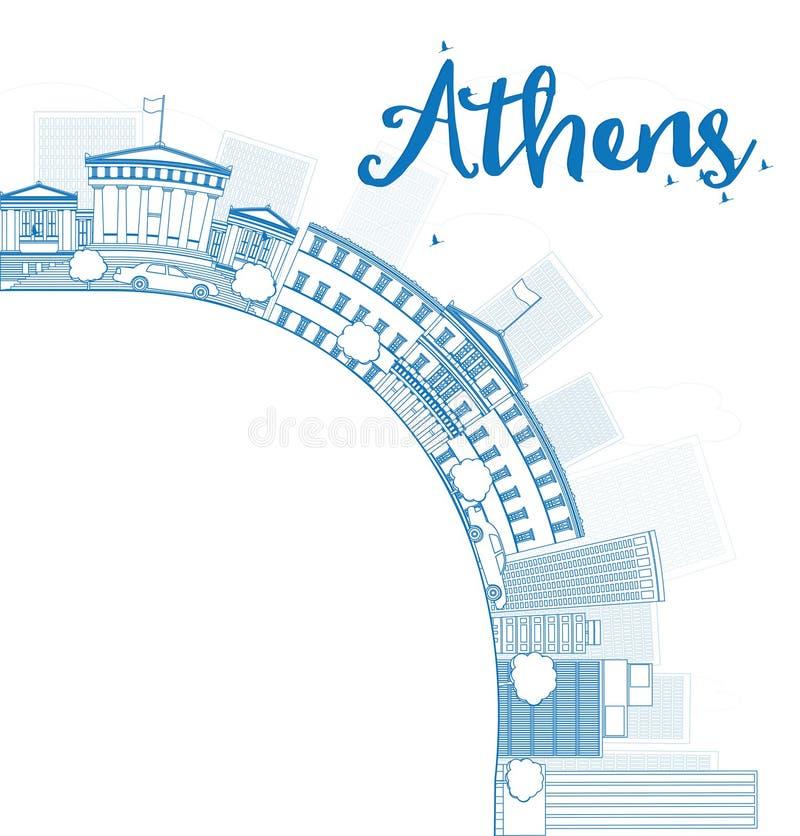 概述与蓝色大厦的雅典地平线并且复制空间 库存例证