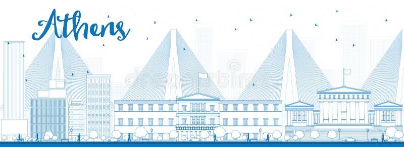 概述与蓝色大厦的雅典地平线 皇族释放例证