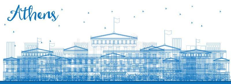 概述与蓝色大厦的雅典地平线 向量例证