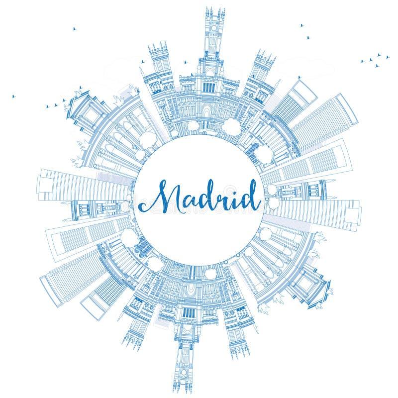 概述与蓝色大厦的马德里地平线并且复制空间 向量例证