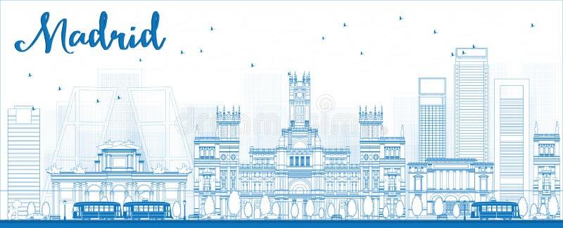 概述与蓝色大厦的马德里地平线 库存例证