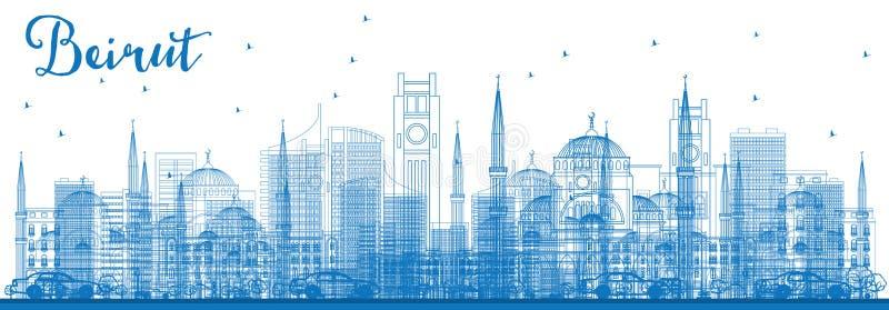 概述与蓝色大厦的贝鲁特地平线 库存例证