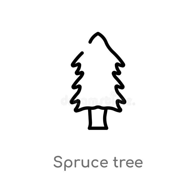 概述云杉的树传染媒介象 被隔绝的黑简单的从自然概念的线元例证 编辑可能的传染媒介冲程 向量例证
