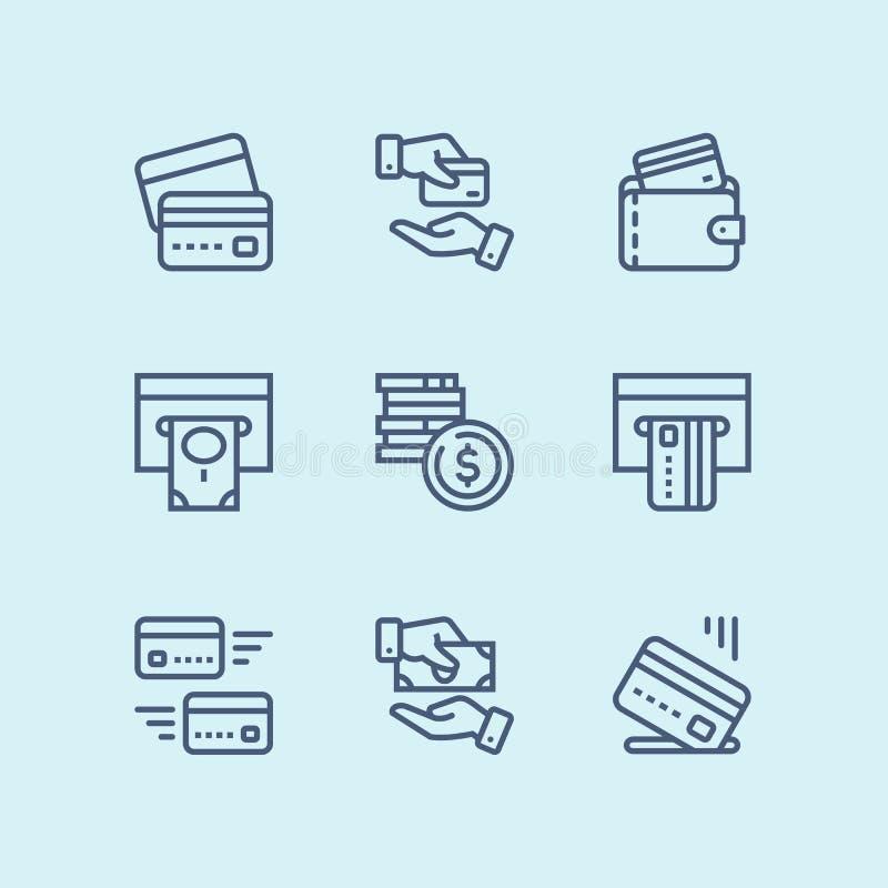 概述付款、金钱、财务、卡片和现金网和流动设计组装的1传染媒介线象 皇族释放例证