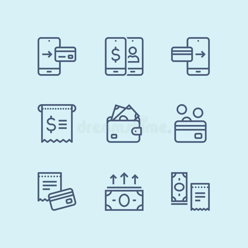 概述付款、金钱、财务、卡片和现金网和流动设计组装的2传染媒介线象 皇族释放例证
