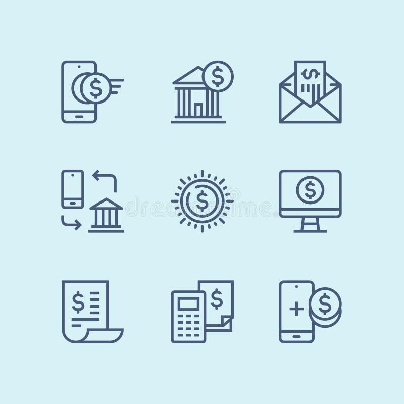 概述付款、金钱、财务、卡片和现金网和流动设计组装的4传染媒介线象 皇族释放例证