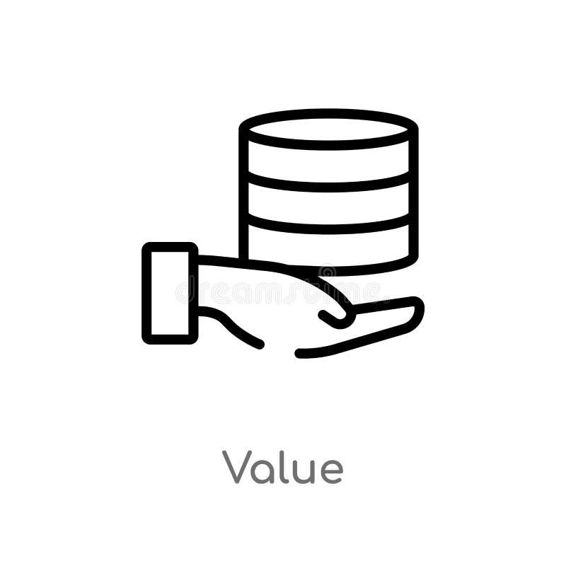 概述价值传染媒介象 被隔绝的黑简单的从大数据概念的线元例证 编辑可能的传染媒介冲程价值 皇族释放例证