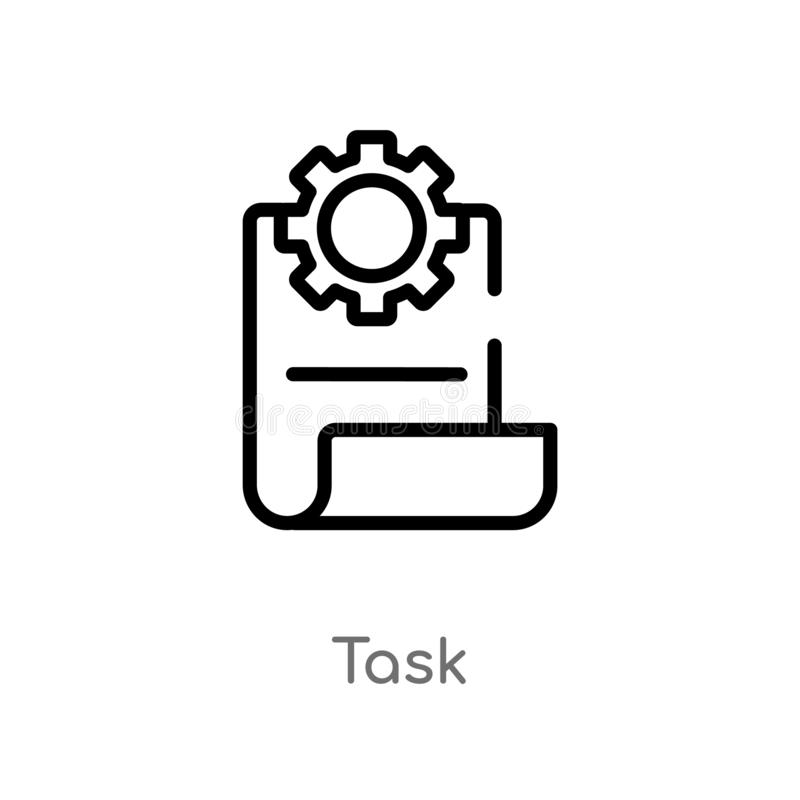 概述任务传染媒介象 被隔绝的黑简单的从产业概念的线元例证 编辑可能的传染媒介冲程任务象 库存例证