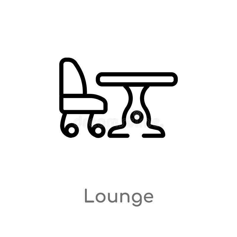 概述休息室传染媒介象 被隔绝的黑简单的从旅馆和餐馆概念的线元例证 编辑可能的传染媒介 向量例证