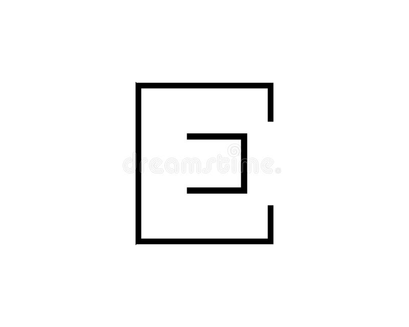 概述信件E商标,字母表商标设计传染媒介 皇族释放例证