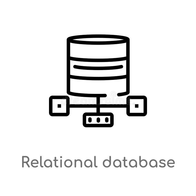 概述关系数据库管理系统传染媒介象 被隔绝的黑简单的从技术概念的线元例证 向量例证