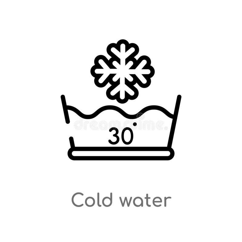 概述凉水传染媒介象 被隔绝的黑简单的从清洗的概念的线元例证 编辑可能的传染媒介冲程寒冷 向量例证