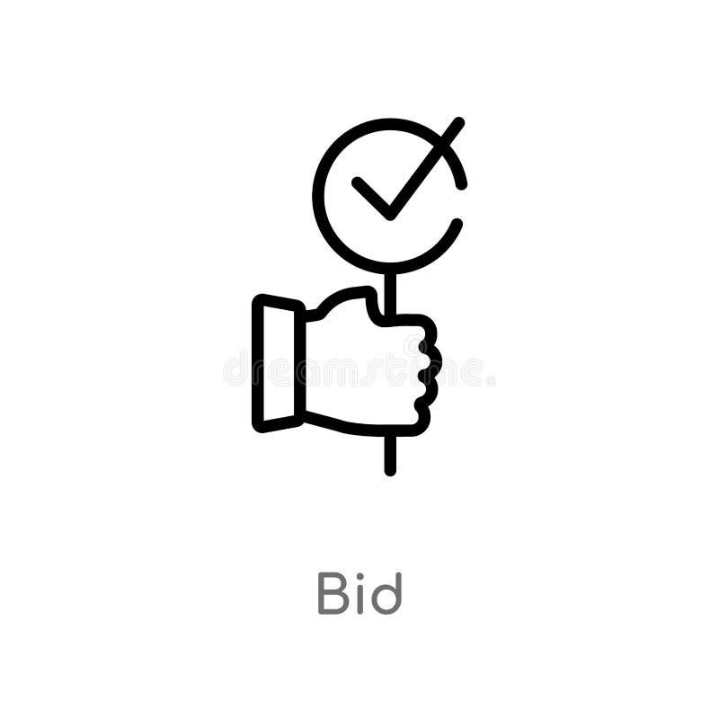 概述出价传染媒介象 被隔绝的黑简单的从销售的概念的线元例证 编辑可能的传染媒介冲程出价象 皇族释放例证