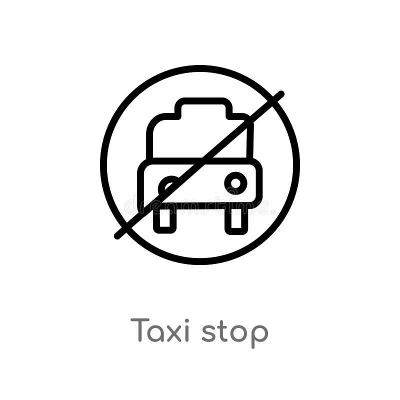 概述出租汽车中止传染媒介象 被隔绝的黑简单的从地图和旗子概念的线元例证 编辑可能的传染媒介冲程 向量例证