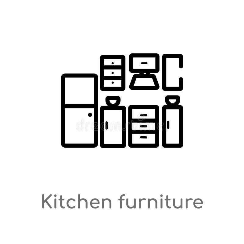 概述厨房家具传染媒介象 被隔绝的黑简单的从家具概念的线元例证 编辑可能的传染媒介 库存例证