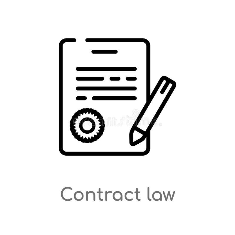 概述合同法传染媒介象 被隔绝的黑简单的从法律和正义概念的线元例证 编辑可能的传染媒介 库存例证