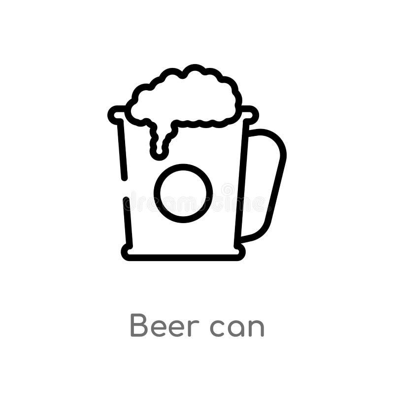 概述啤酒罐导航象 被隔绝的黑简单的从美食术概念的线元例证 编辑可能的传染媒介冲程啤酒 库存例证