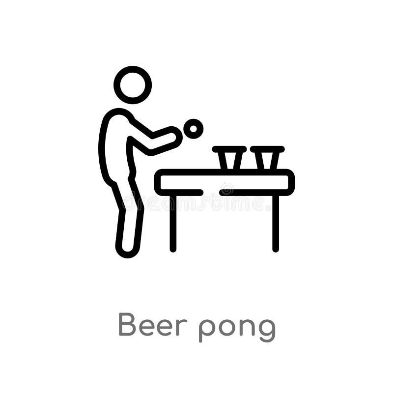 概述啤酒pong传染媒介象 被隔绝的黑简单的从活动概念的线元例证 编辑可能的传染媒介冲程 库存例证
