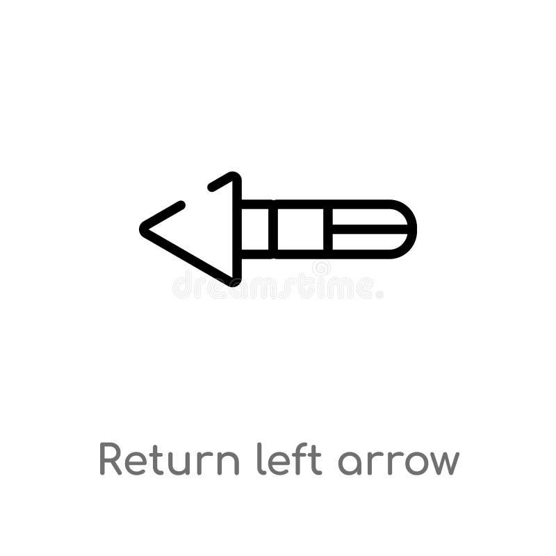 概述回归左箭传染媒介象 被隔绝的黑简单的从用户界面概念的线元例证 编辑可能 库存例证