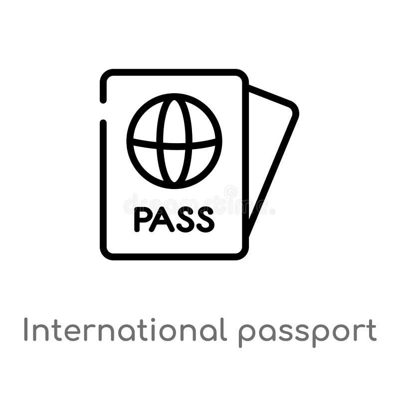 概述国际护照传染媒介象 被隔绝的黑简单的从技术概念的线元例证 编辑可能 皇族释放例证
