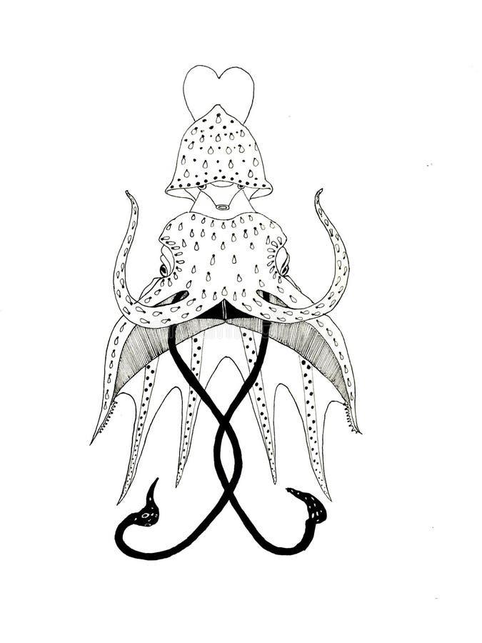 手拉的章鱼 黑白艺术 向量例证