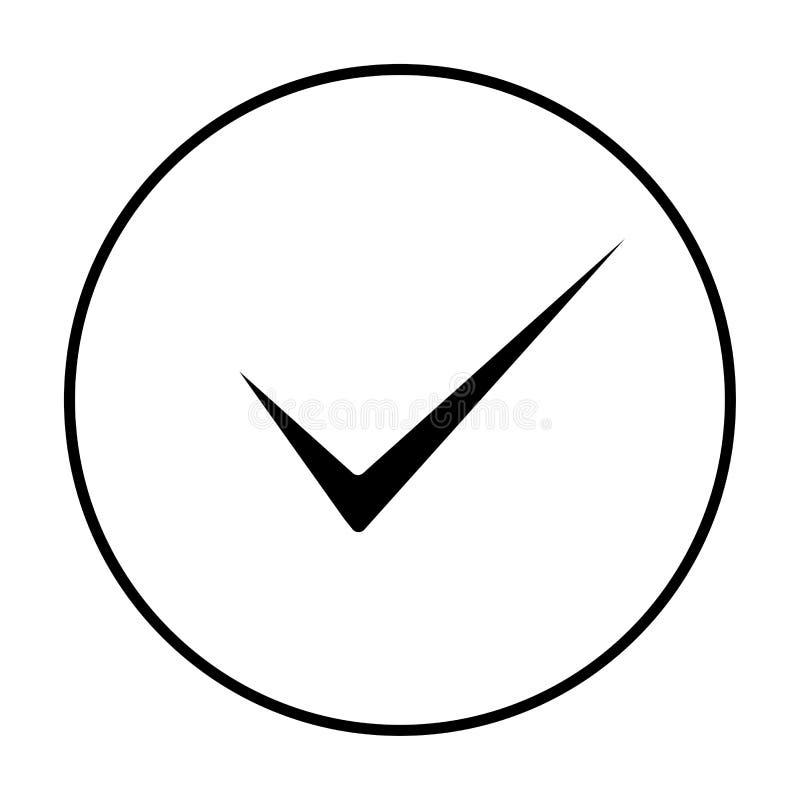 概述在平的样式的批准和正确象 检查作为商业运作服从概念稀薄的线的好标志的壁虱标记 向量例证