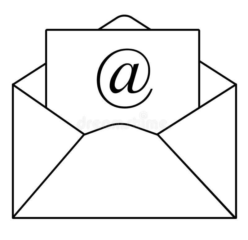 概述在时髦平的样式的电子邮件象在白色背景 ` 皇族释放例证