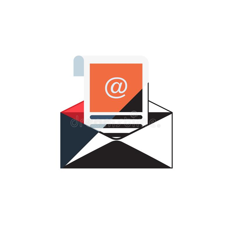 概述在灰色背景隔绝的电子邮件象 开放信封图表 线网站设计的,流动应用邮件标志, 向量例证