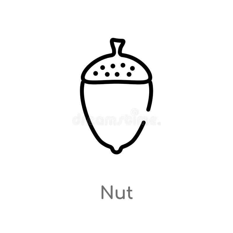 概述坚果传染媒介象 被隔绝的黑简单的从美食术概念的线元例证 编辑可能的传染媒介冲程坚果象 皇族释放例证