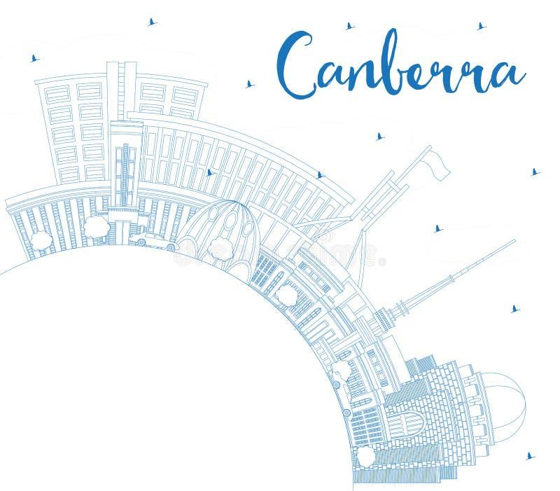 概述堪培拉澳大利亚与蓝色大厦的市地平线和 库存例证