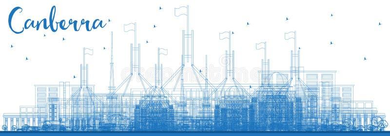 概述堪培拉澳大利亚与蓝色大厦的市地平线 库存例证