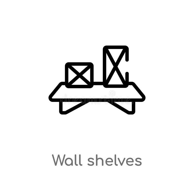 概述墙壁搁置传染媒介象 被隔绝的黑简单的从家具和家庭概念的线元例证 r 库存例证