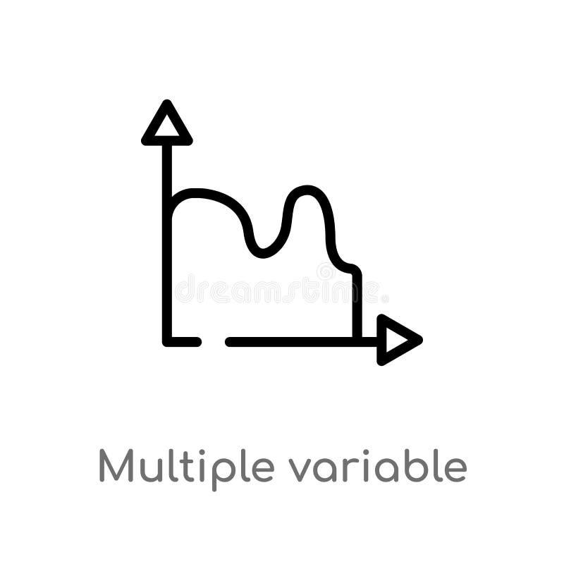 概述多个易变的连续的图传染媒介象 被隔绝的黑简单的从用户界面的线元例证 库存例证