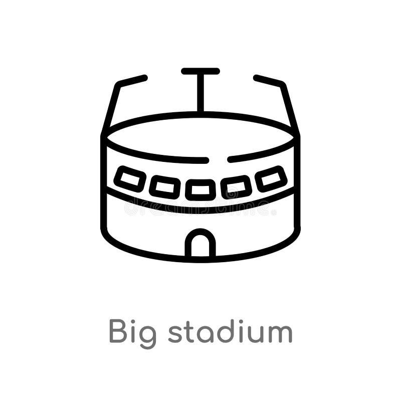 概述大体育场传染媒介象 被隔绝的黑简单的从大厦概念的线元例证 编辑可能的传染媒介冲程 向量例证