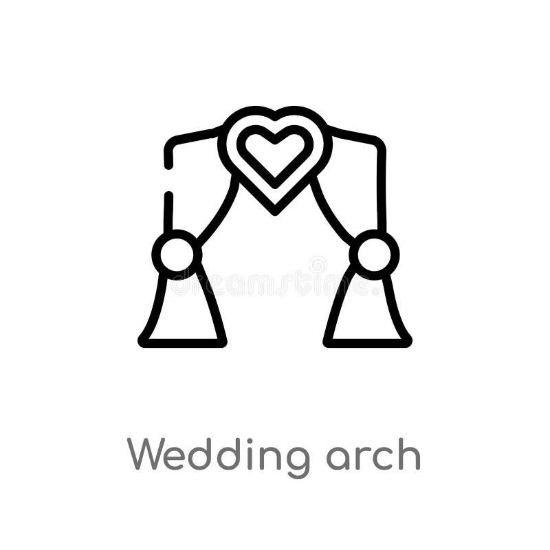 概述婚礼曲拱传染媒介象 被隔绝的黑简单的从爱&婚姻的概念的线元例证 编辑可能的传染媒介 库存例证