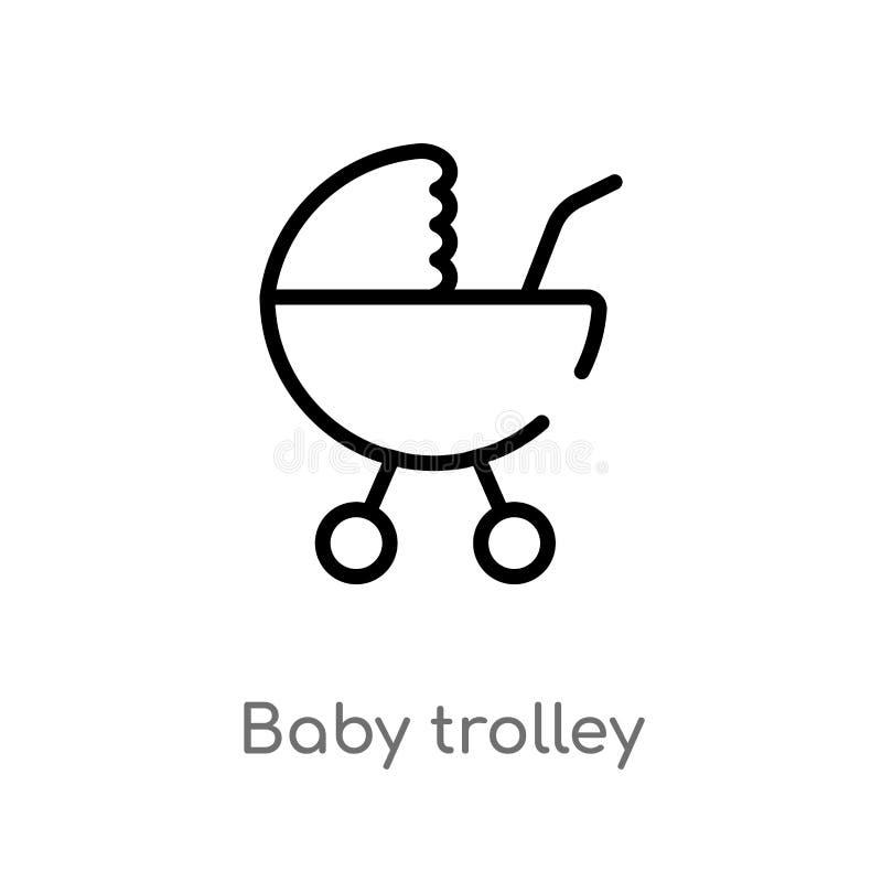 概述婴孩台车传染媒介象 被隔绝的黑简单的从运输概念的线元例证 编辑可能的传染媒介冲程 皇族释放例证