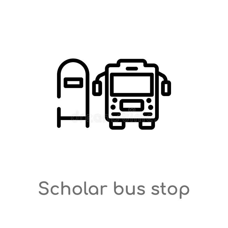 概述学者公交车站传染媒介象 被隔绝的黑简单的从运输概念的线元例证 E 向量例证